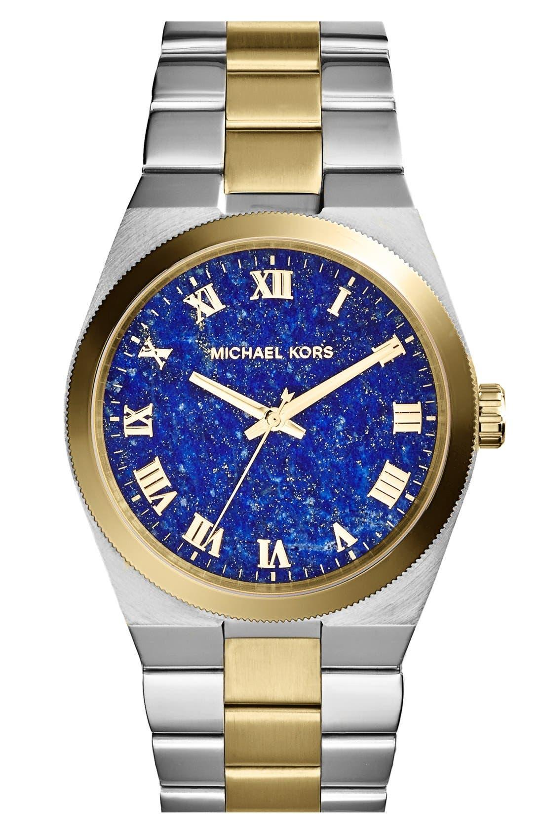 Main Image - Michael Kors 'Channing' Lapis Dial Bracelet Watch, 38mm