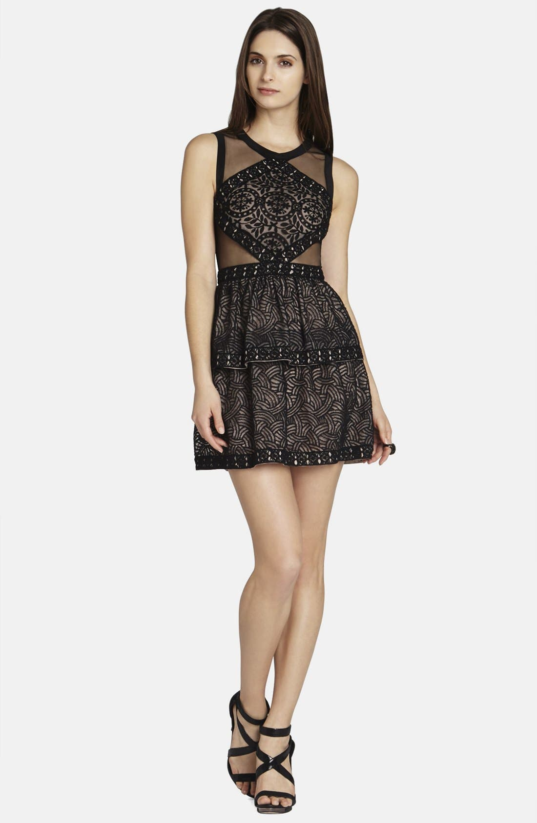 Alternate Image 3  - BCBGMAXAZRIA 'Joselyn' Mesh Inset Fit & Flare Dress