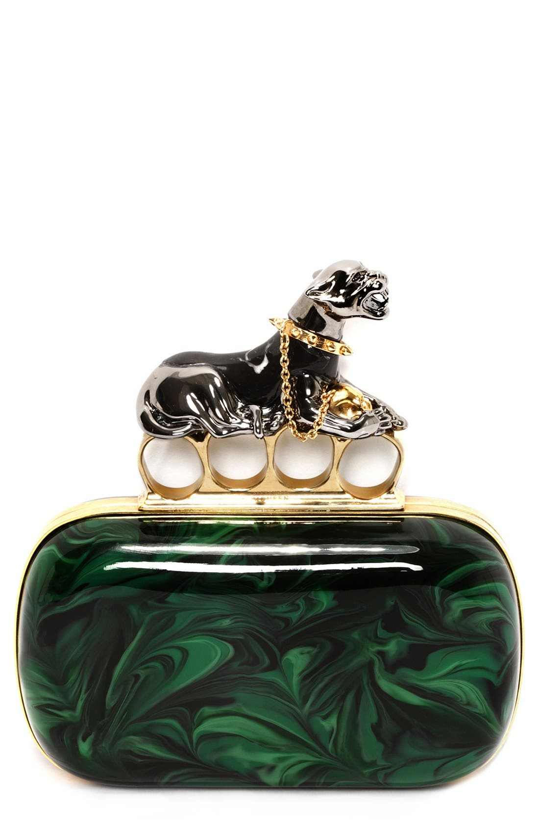 Main Image - Alexander McQueen Panther Knuckle Clutch