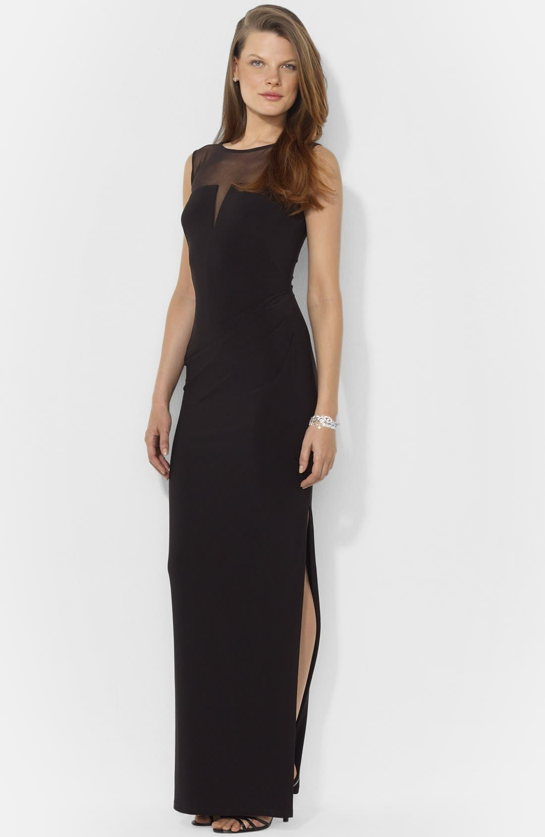 Alternate Image 1 Selected - Lauren Ralph Lauren Illusion Yoke Jersey Gown