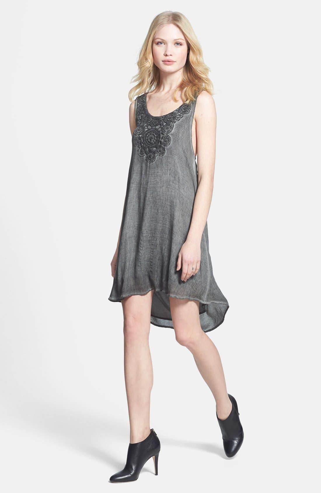 Crochet Yoke Tank Dress,                             Main thumbnail 1, color,                             Ash