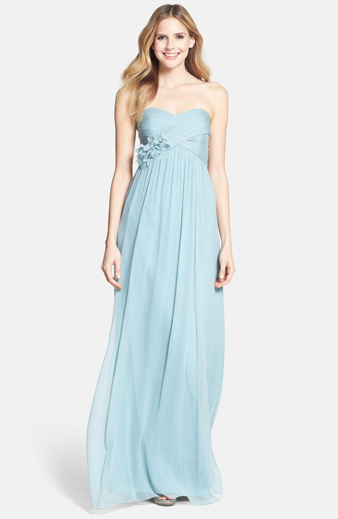 Alternate Image 1 Selected - Jenny Yoo 'Sienna' Strapless Crinkle Silk Chiffon Dress