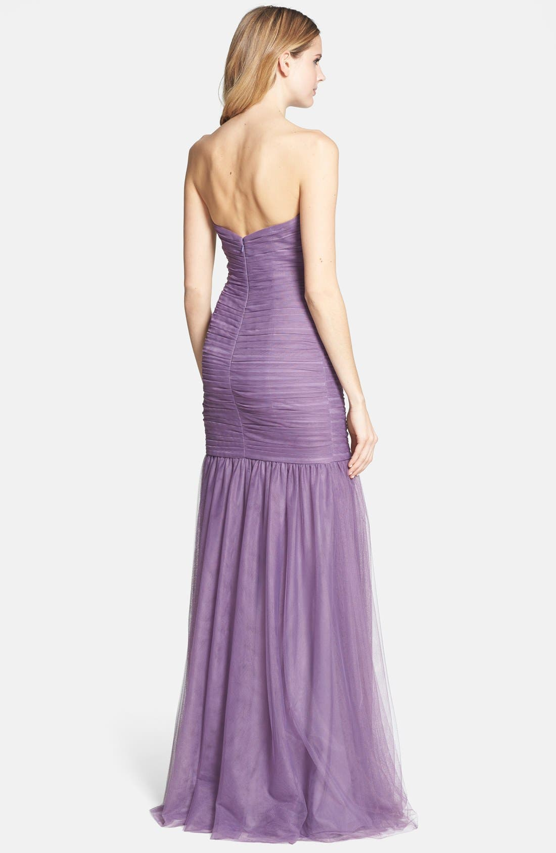 Alternate Image 2  - Monique Lhuillier Bridesmaids Shirred Tulle Gown