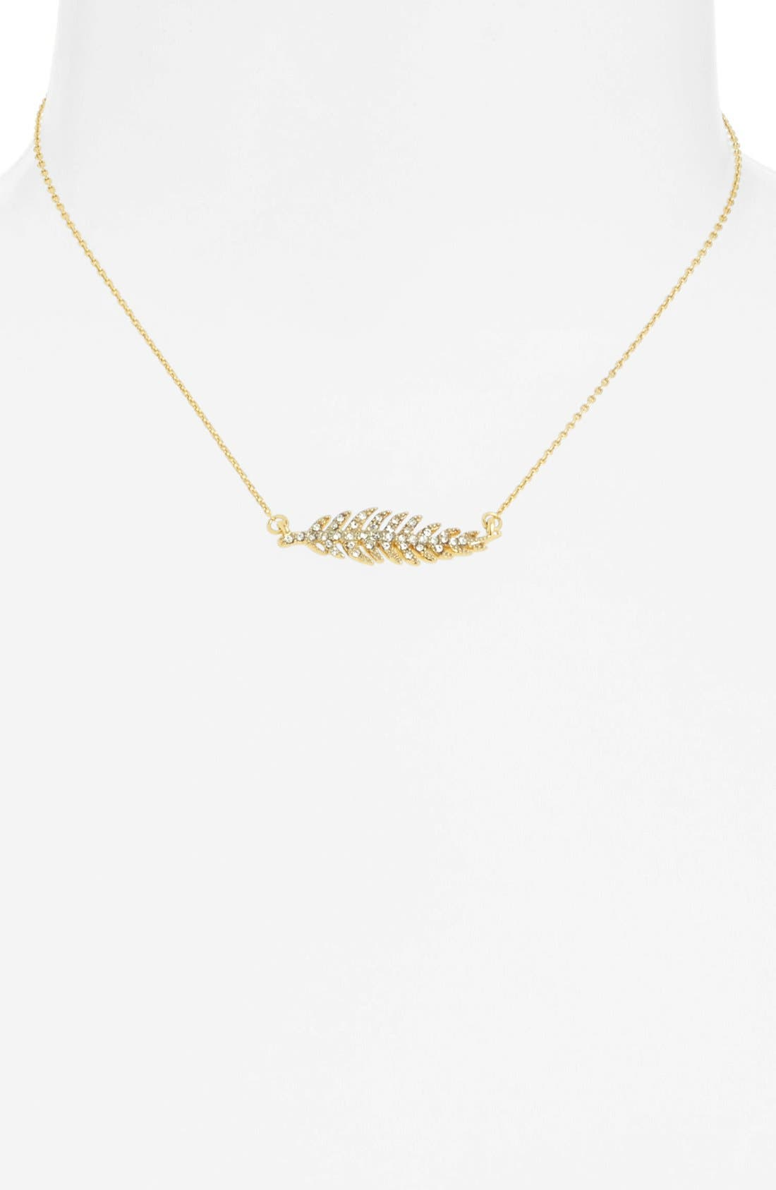 Alternate Image 2  - Juicy Couture 'Juicy in Bloom' Pavé Feather Pendant Necklace