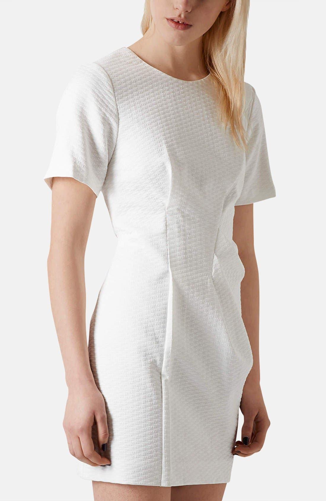 Main Image - Topshop 'Premium' Textured Pleat Sheath Dress