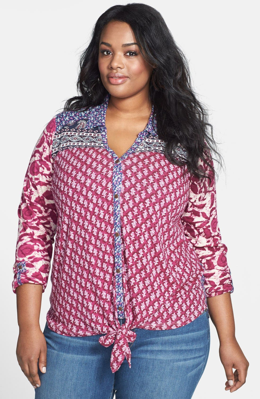Alternate Image 1 Selected - Lucky Brand 'Corte Madera' Tie Front Top (Plus Size)