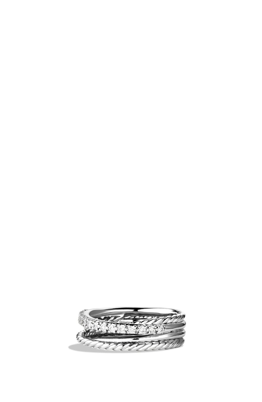'Crossover' Ring with Diamonds,                             Main thumbnail 1, color,                             Silver/ Diamond