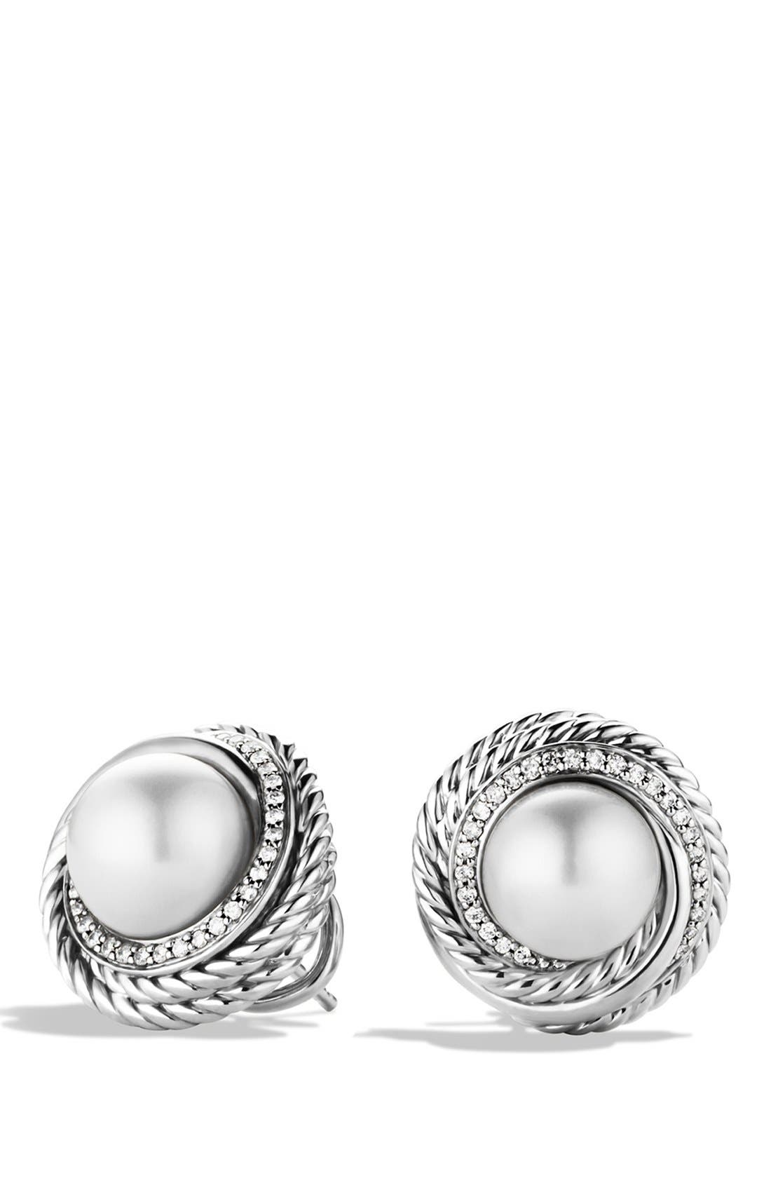 Alternate Image 1 Selected - David Yurman 'Pearl Crossover' Earrings with Diamonds