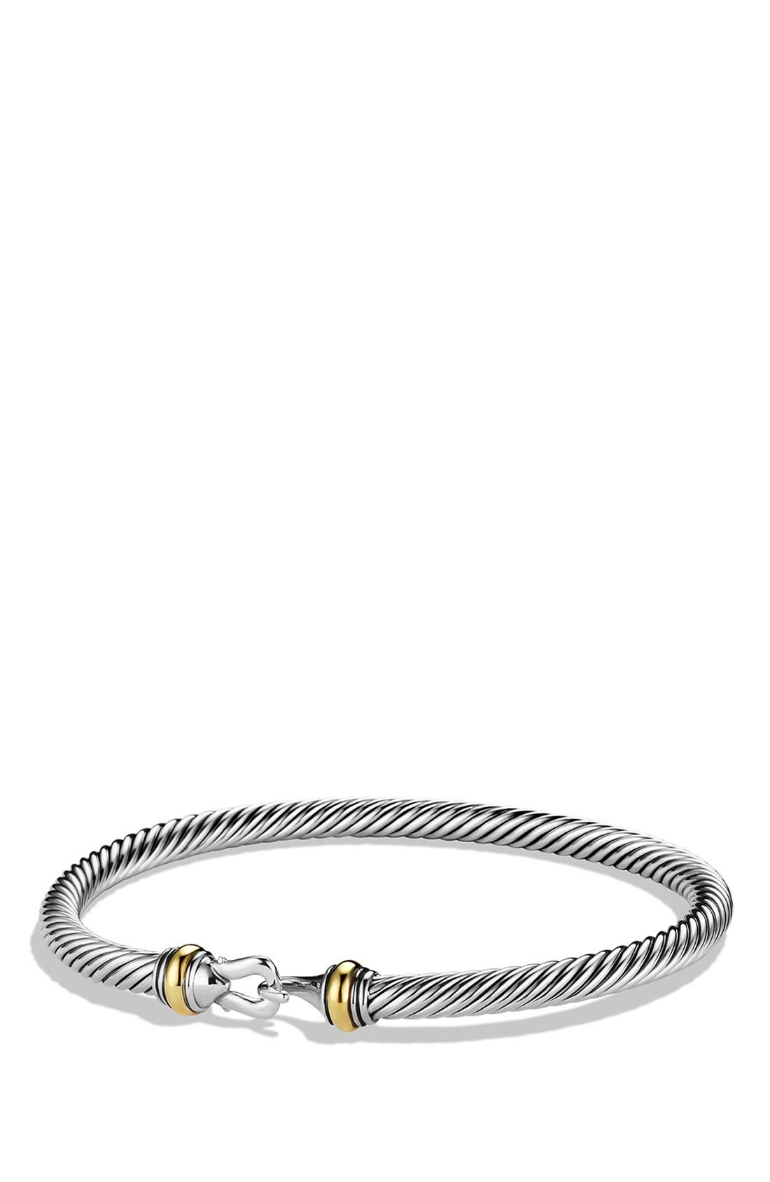 Cable Buckle Bracelet with Gold, 4mm,                         Main,                         color, Two Tone