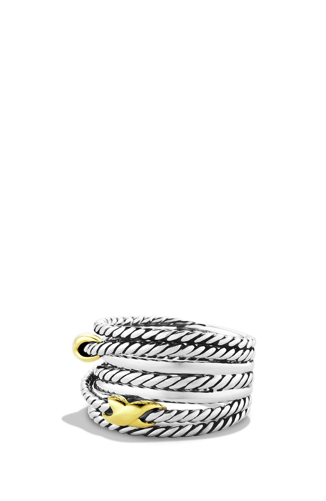 'Double X Crossover' Ring,                         Main,                         color, Two Tone