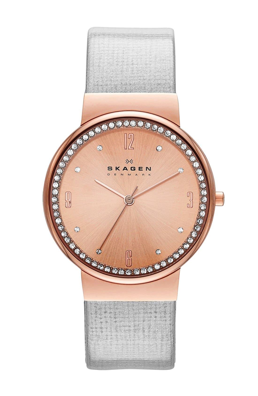 Main Image - Skagen Crystal Bezel Pattern Leather Strap Watch, 34mm