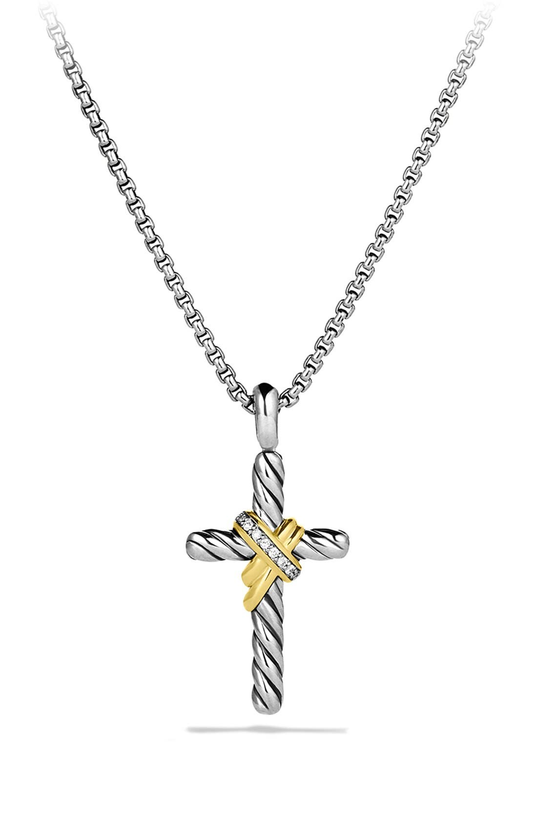 David Yurman 'X' Cross with Diamonds and Gold on Chain