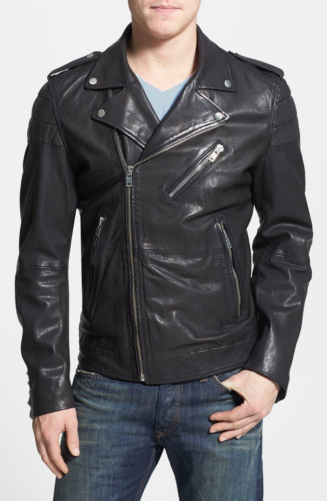 'L-Illianne' Leather Jacket,                         Main,                         color, Black