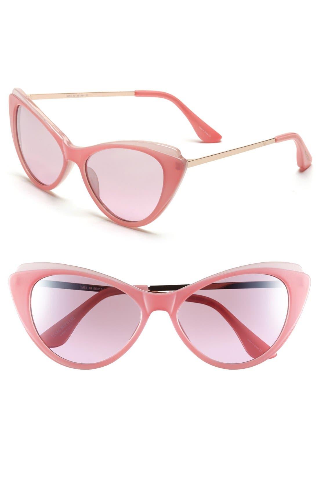 57mm Cat Eye Sunglasses,                             Main thumbnail 1, color,                             Blush