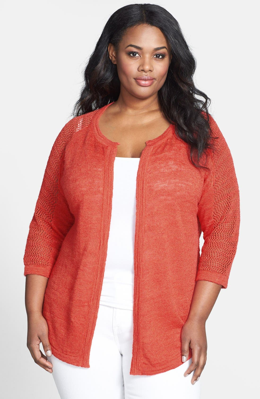 Main Image - Lucky Brand 'Monrovia' Pointelle Cardigan (Plus Size)
