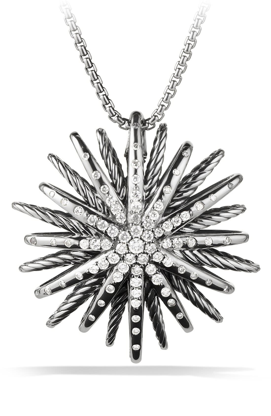 David Yurman 'Starburst' Large Pendant with Diamonds on Chain