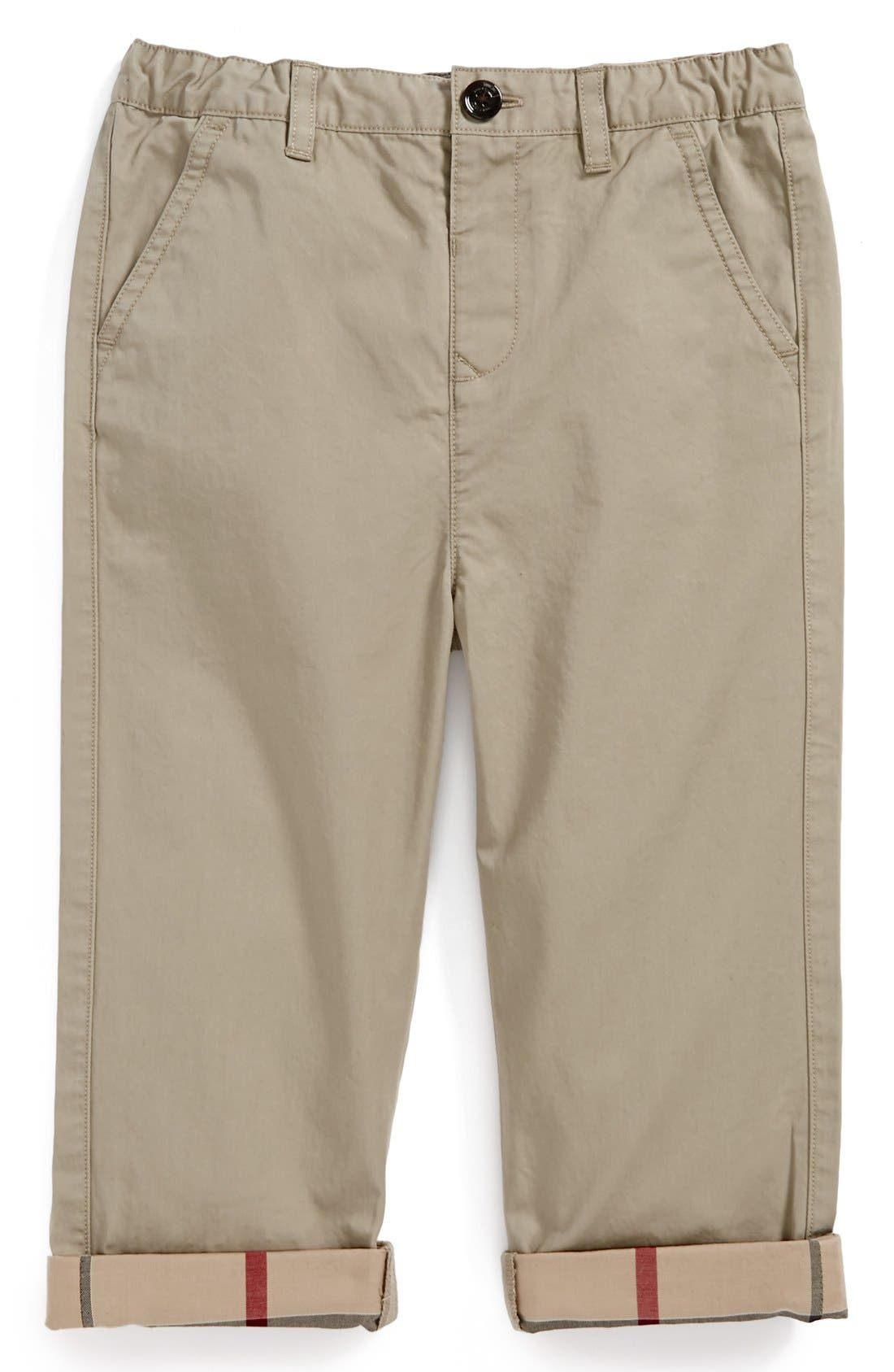 'Ricky' Check Lined Roll Cuff Pants,                             Main thumbnail 1, color,                             Taupe