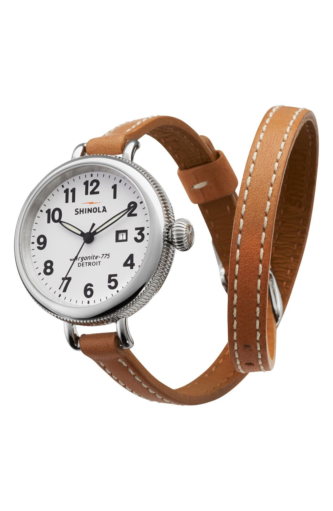 SHINOLA The Birdy Double Wrap Leather Strap Watch, 34mm