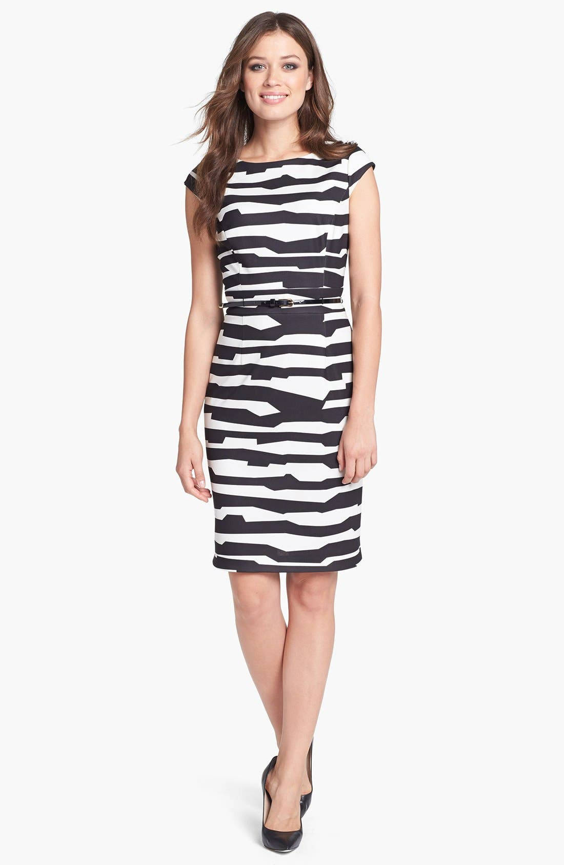 Main Image - Tahari Belted Print Scuba Sheath Dress (Petite)