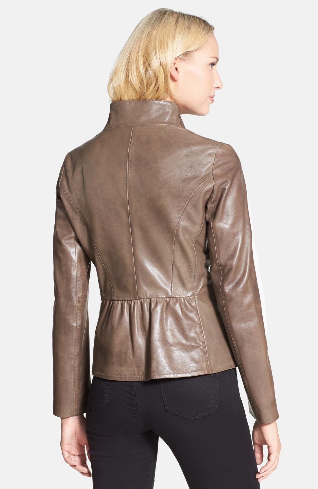 Alternate Image 2  - Elie Tahari 'Beverly' Curved Hem Leather Jacket