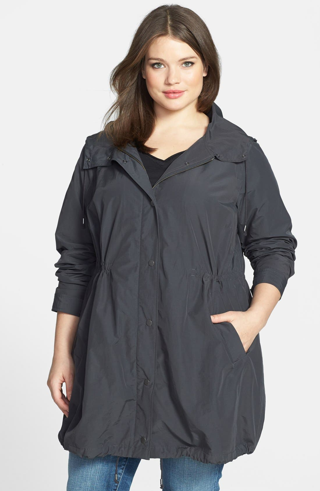Alternate Image 1 Selected - Eileen Fisher Hooded Jacket (Plus Size)