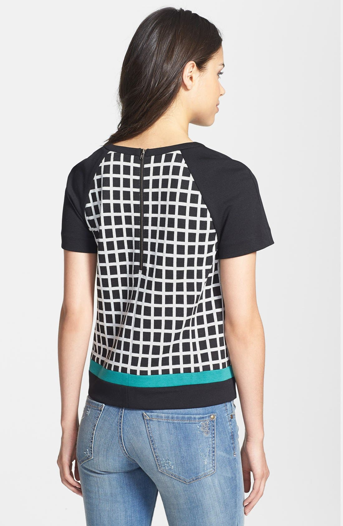 Alternate Image 2  - Halogen® Colorblock Check Pattern Ponte Top (Petite)