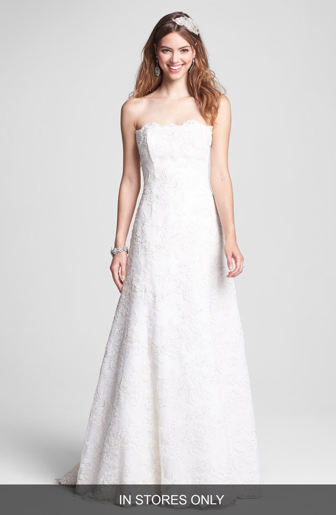 Main Image - BLISS Monique Lhuillier Strapless Beaded Lace Wedding Dress