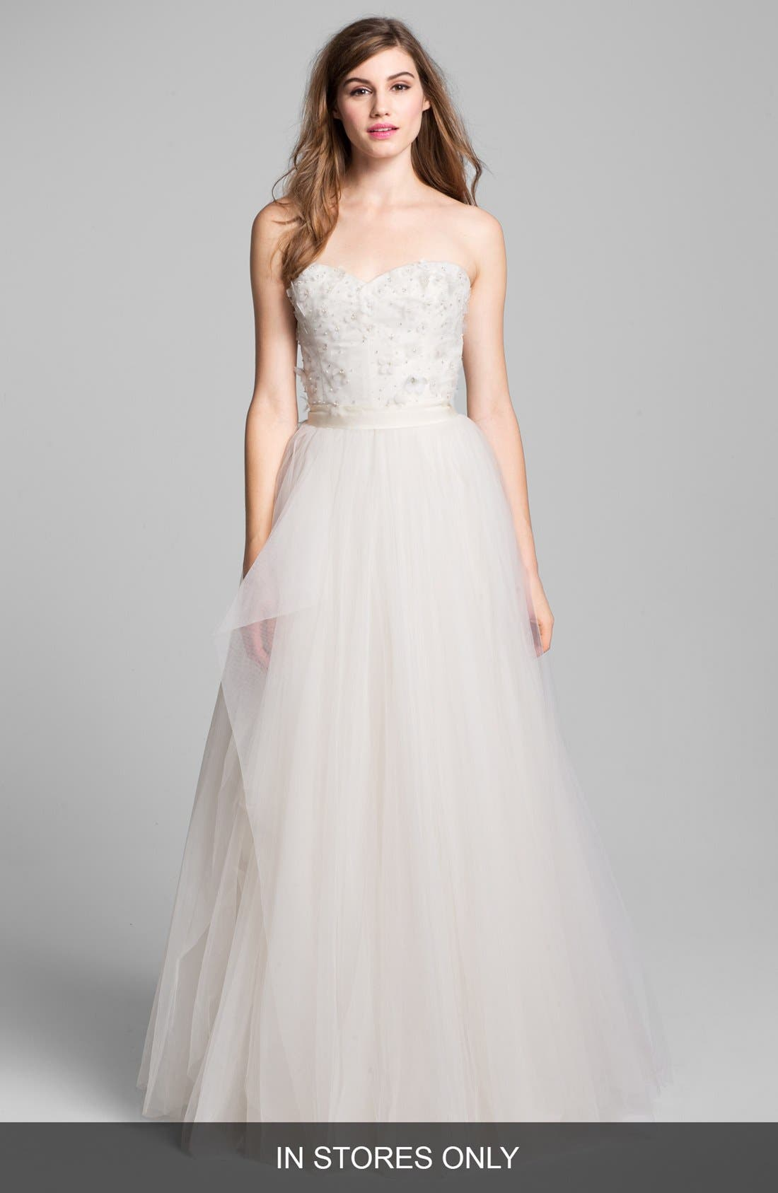 Alternate Image 1 Selected - Roses by Reem Acra 'Coral Bells' Beaded Lace & Tulle Ball Gown (In Stores Only)