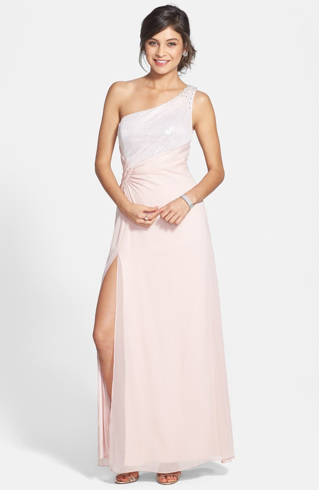 Main Image - Hailey by Adrianna Papell Embellished One-Shoulder Side Ruched Gown