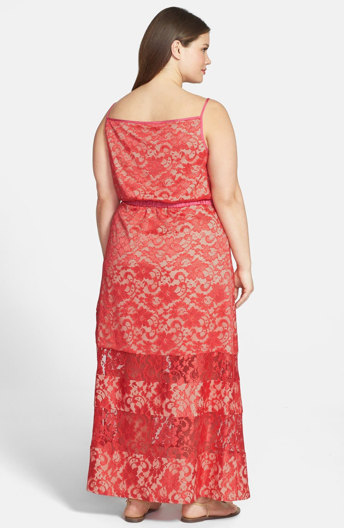 Alternate Image 2  - ABS by Allen Schwartz Lace Maxi Dress (Plus Size)