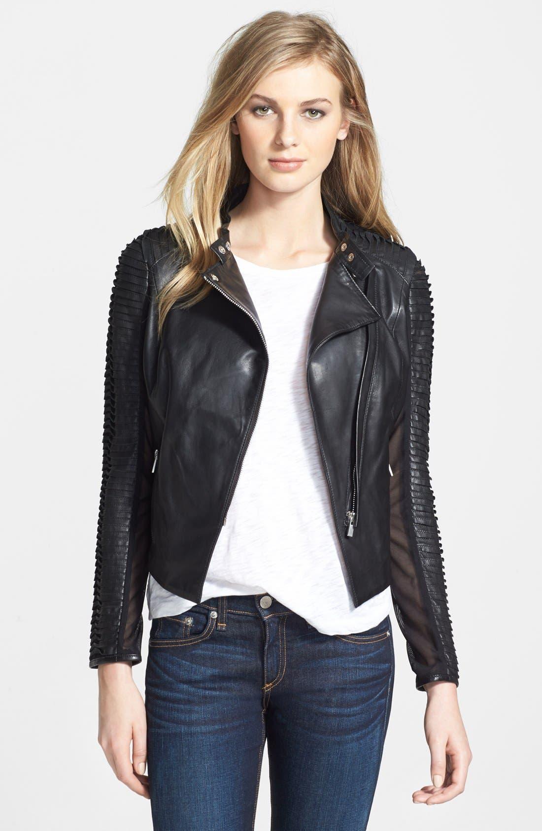 Alternate Image 1 Selected - LaMarque Stripe Sleeve Detail Leather Jacket