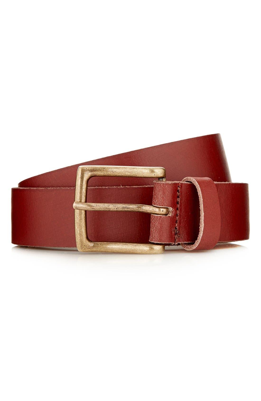 Alternate Image 1 Selected - Topman Brown Leather Belt