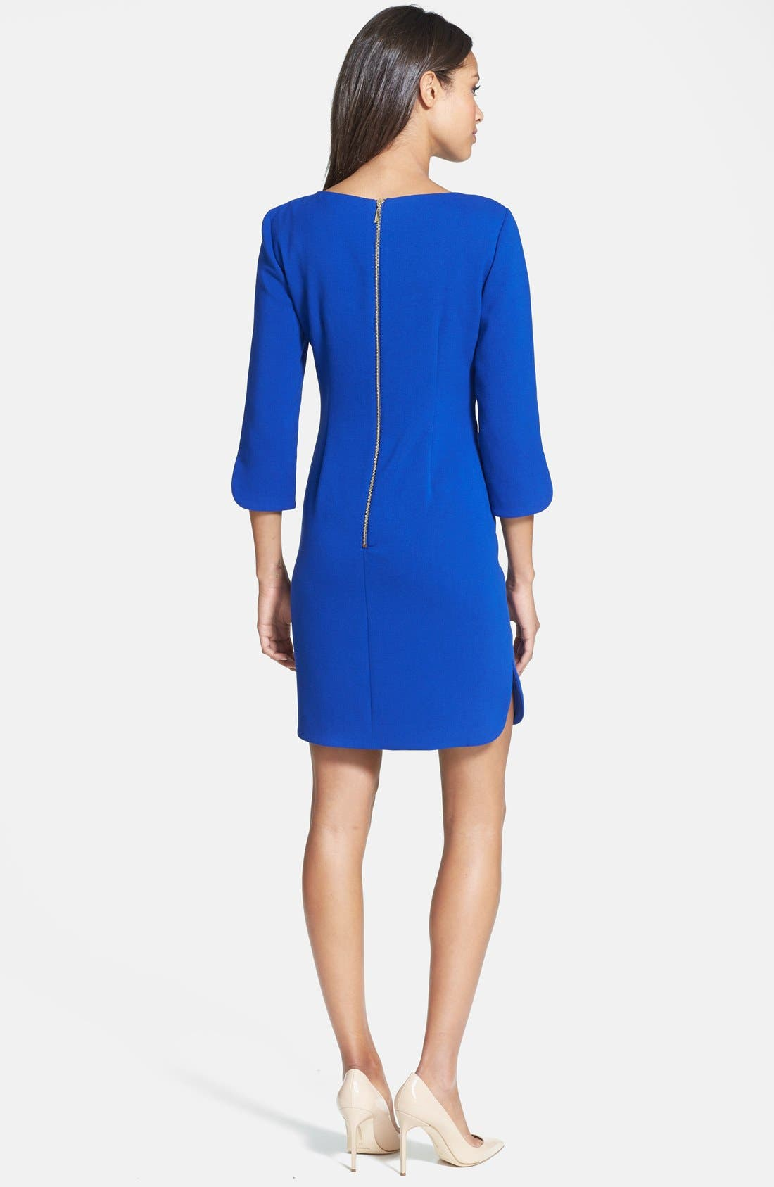 Alternate Image 3  - Eliza J Split Cuff Boatneck Shift Dress (Regular & Petite)