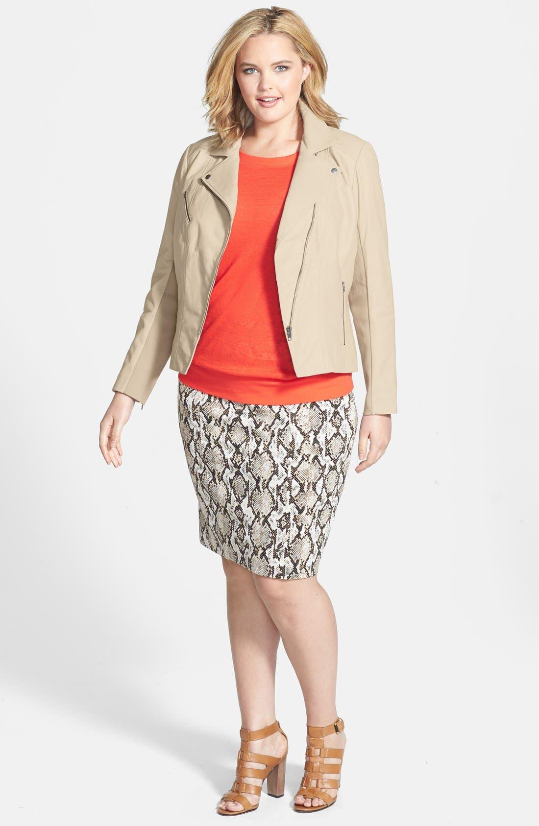 Alternate Image 4  - Halogen® 'Powder' Lambskin Leather Jacket (Plus Size)