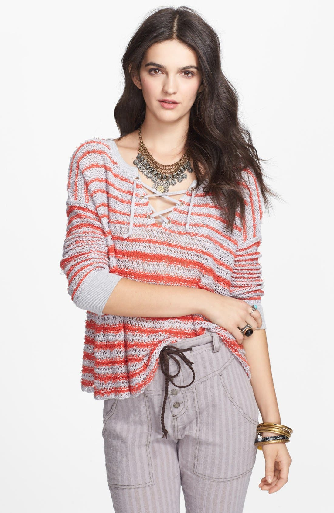 Main Image - Free People Lace-Up Stripe Pullover