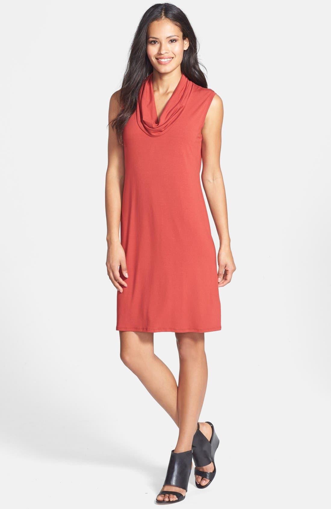 Alternate Image 1 Selected - Eileen Fisher Cowl Neck Jersey Dress (Regular & Petite)