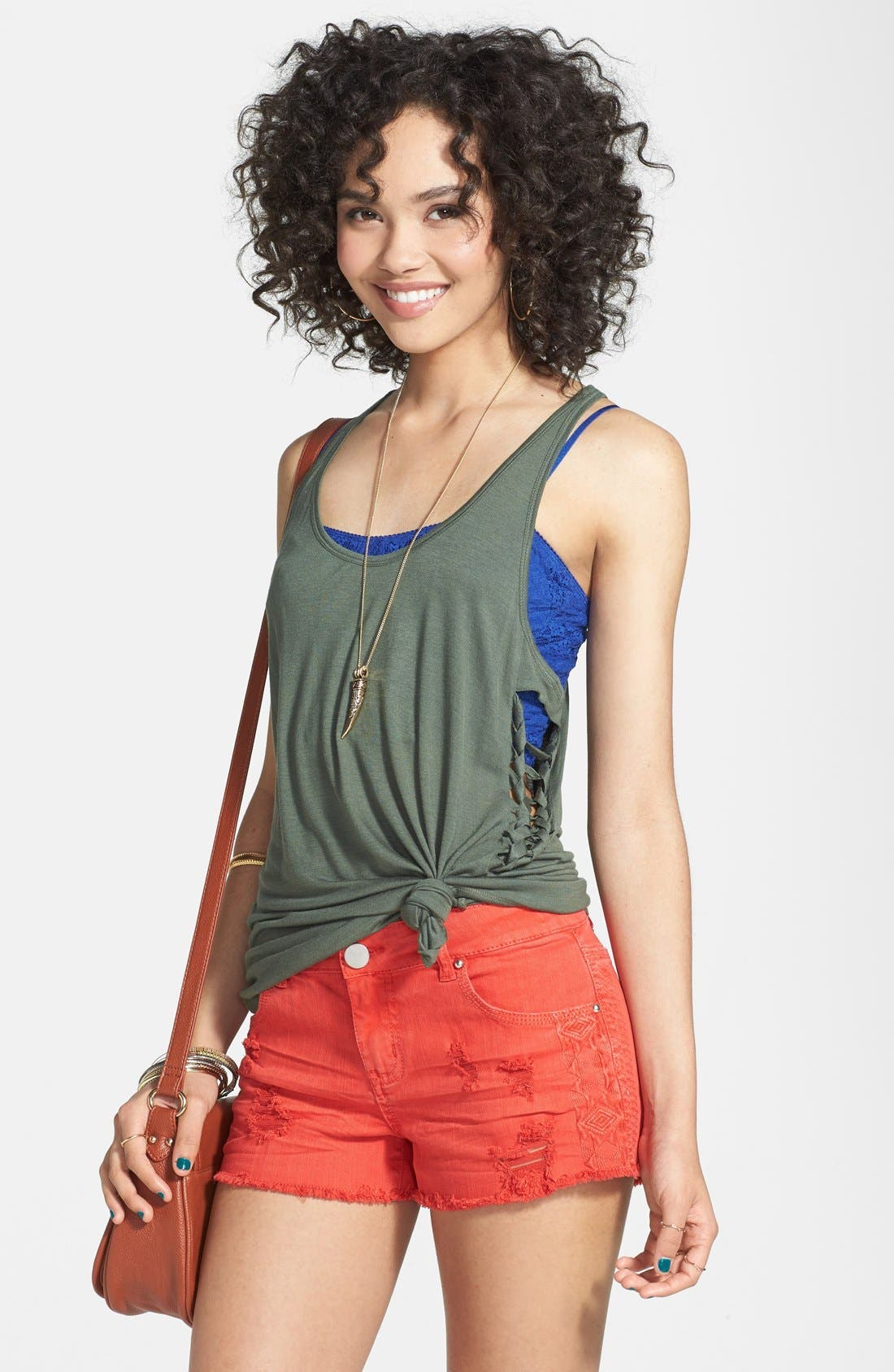 Alternate Image 1 Selected - Rubbish® Lace Up Racerback Tank (Juniors)