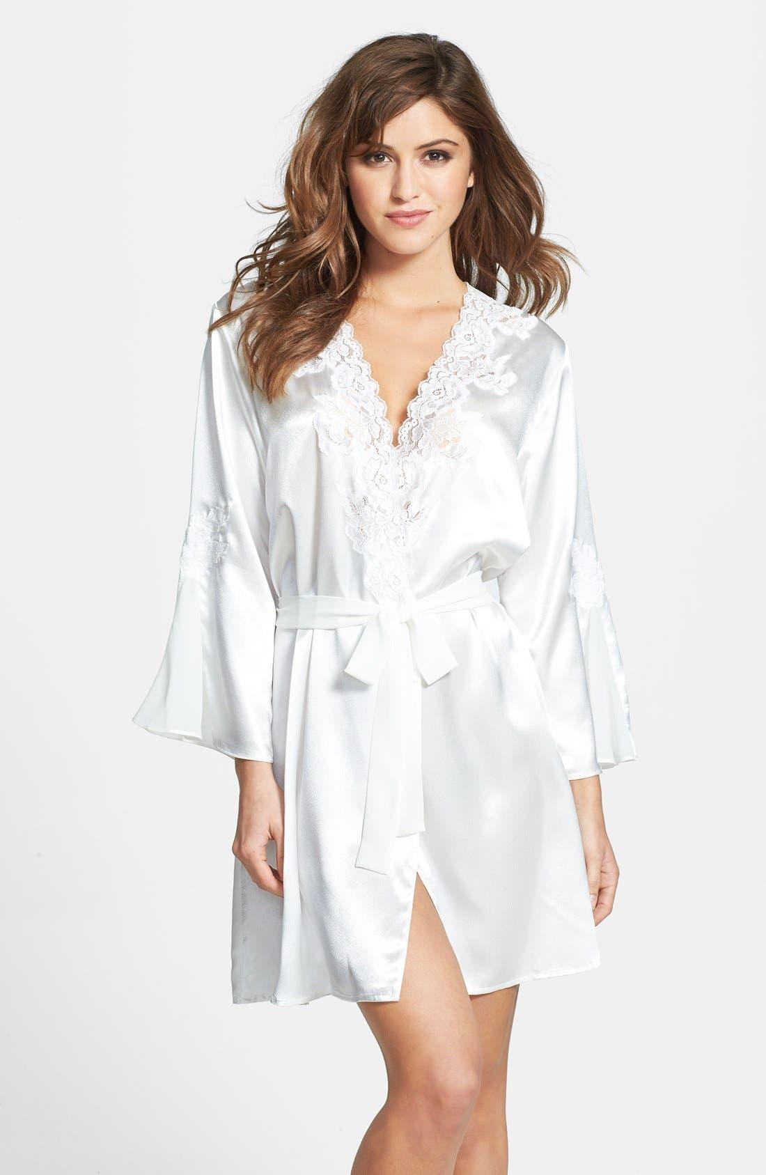 Main Image - Oscar de la Renta Sleepwear 'Evening Bliss' Satin Charmeuse Wrap Robe