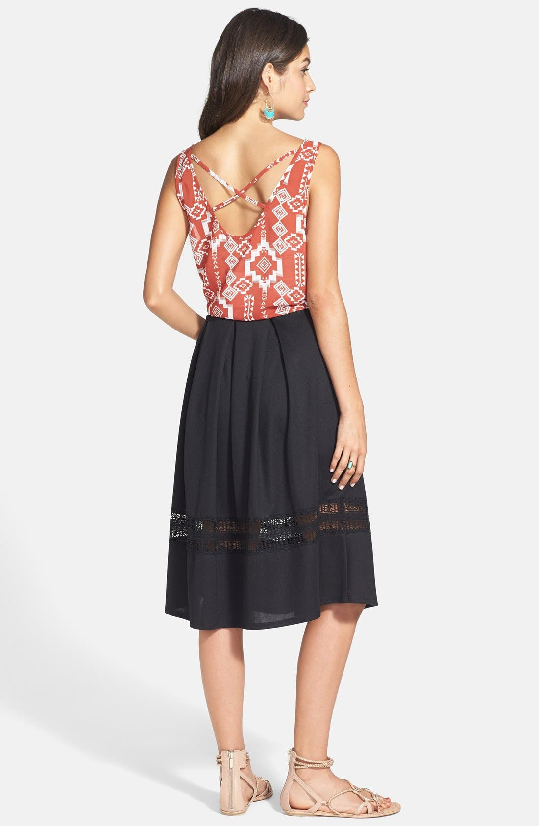 Alternate Image 2  - Painted Threads Lace Inset Midi Skirt (Juniors)