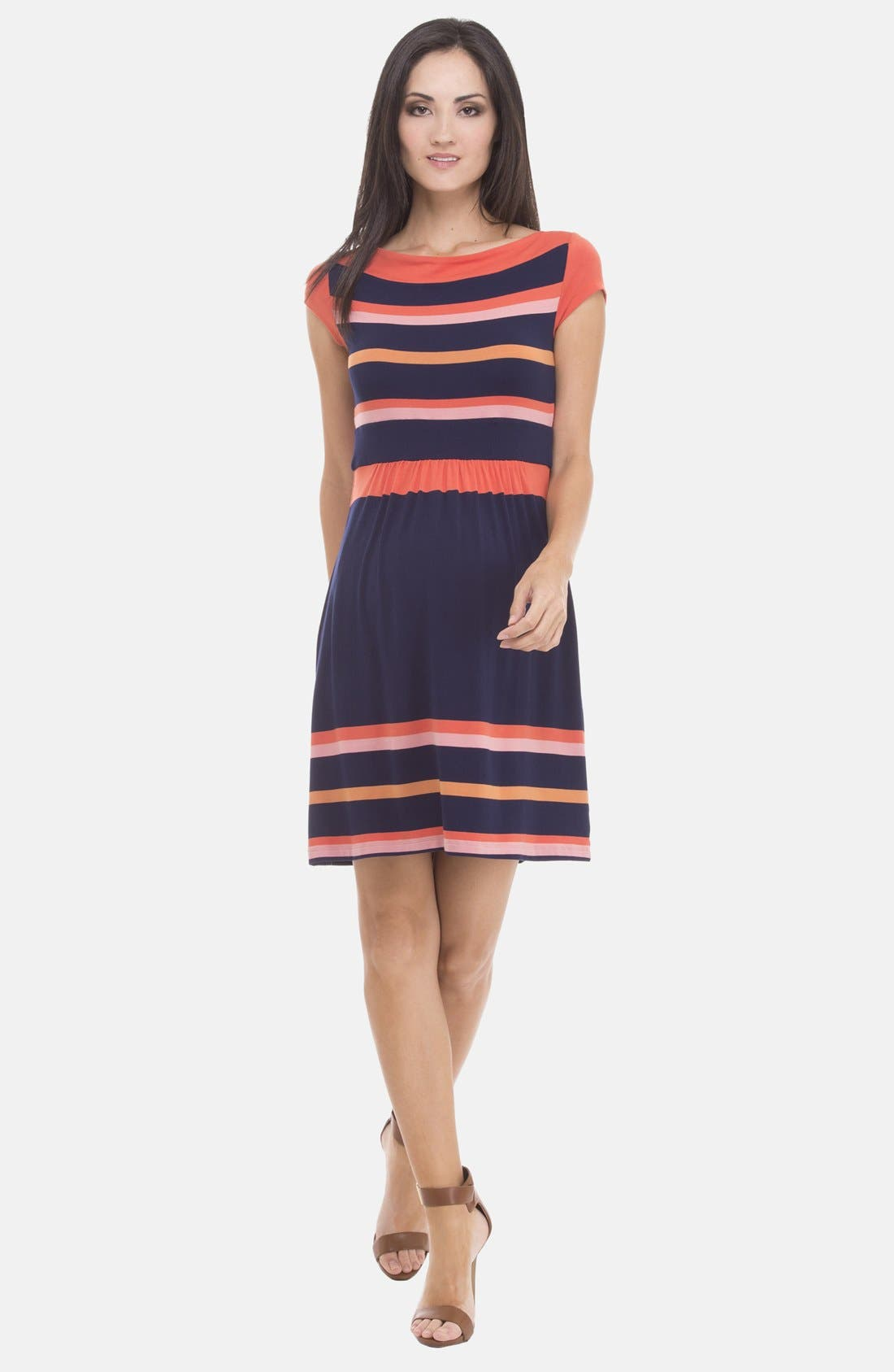 Main Image - Olian Stripe Boatneck Maternity Dress