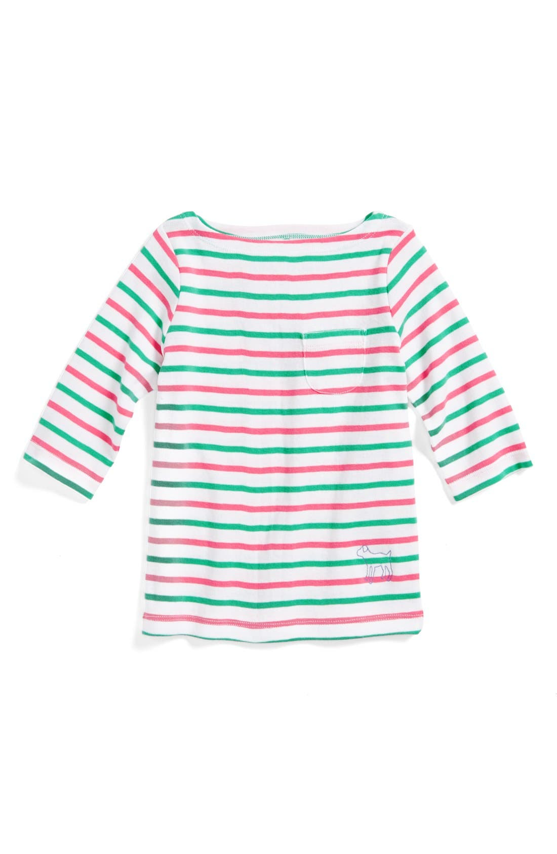 Alternate Image 1 Selected - Mini Boden Stripy Boatneck Shirt (Toddler Girls, Little Girls & Big Girls)