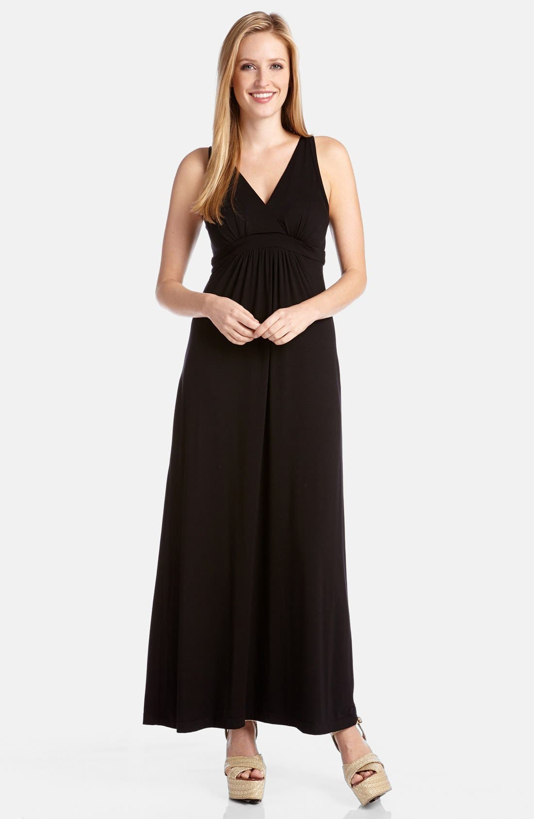 Main Image - Karen Kane 'Julie' Surplice Jersey Maxi Dress