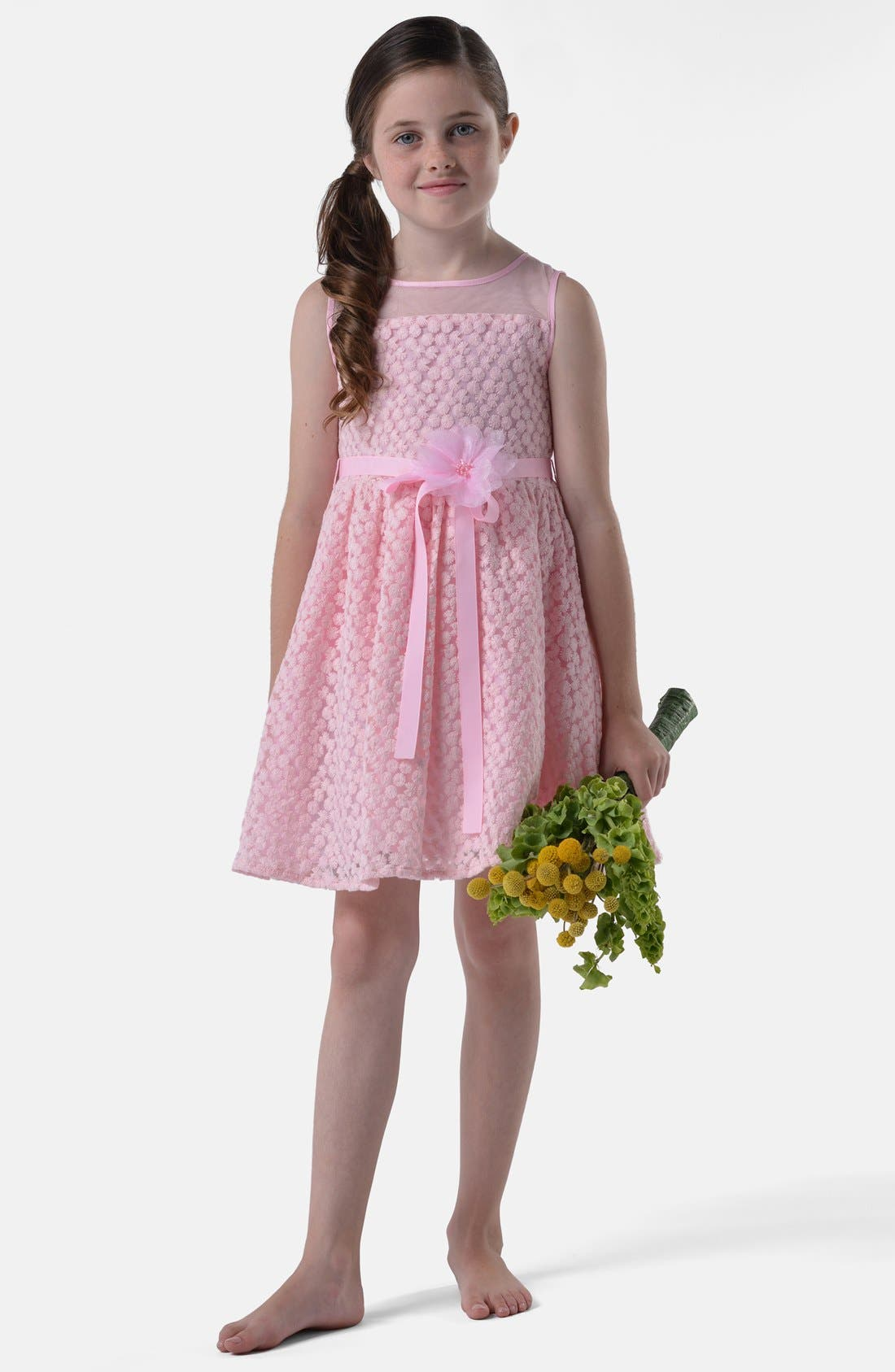 Alternate Image 1 Selected - Us Angels 'Daisy' Illusion Neck Sleeveless Dress (Little Girls & Big Girls)