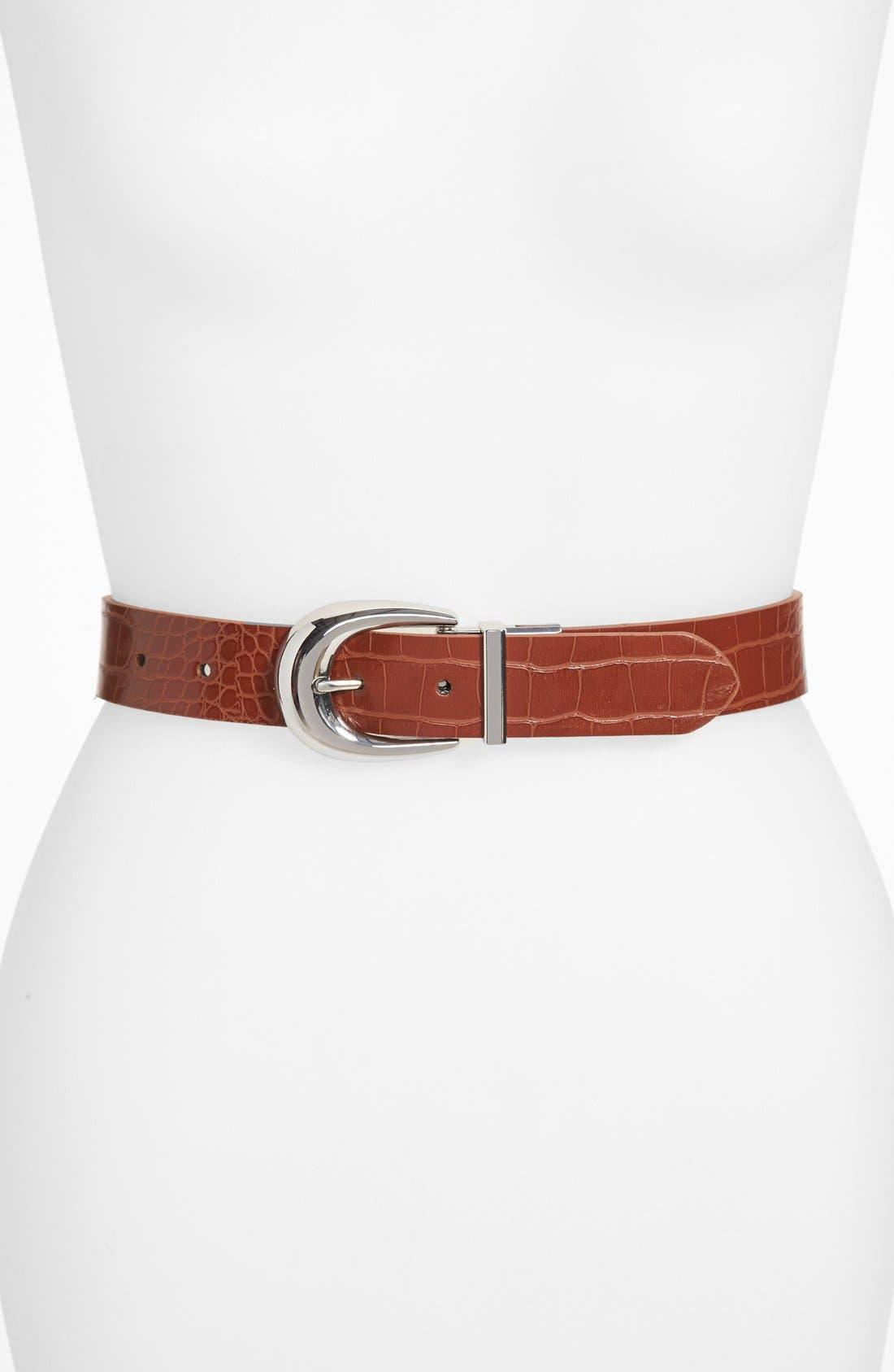 Alternate Image 1 Selected - Lauren Ralph Lauren Reversible Croc Embossed Belt