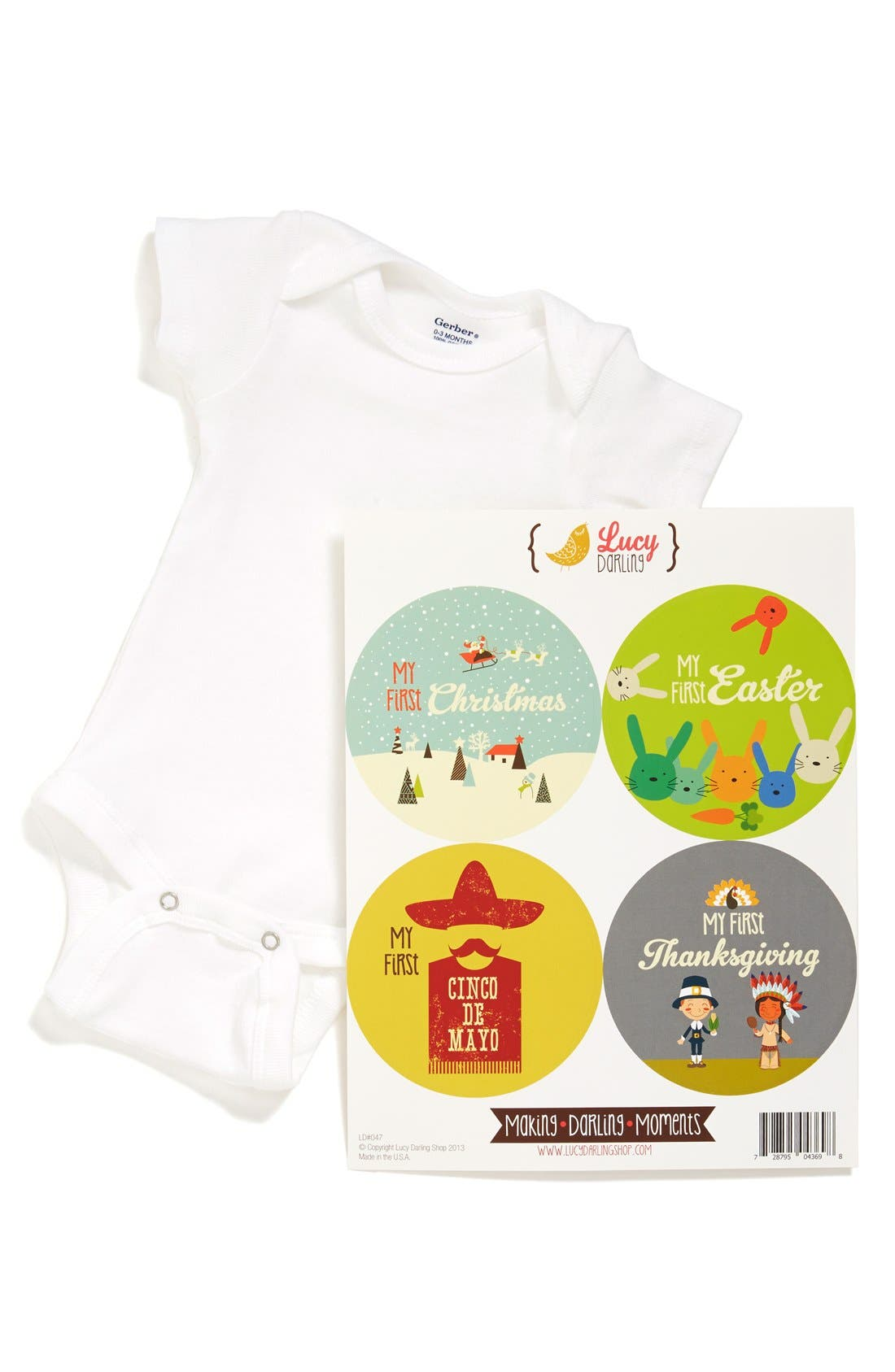 Alternate Image 1 Selected - Lucy Darling Bodysuit & Stickers (Baby)