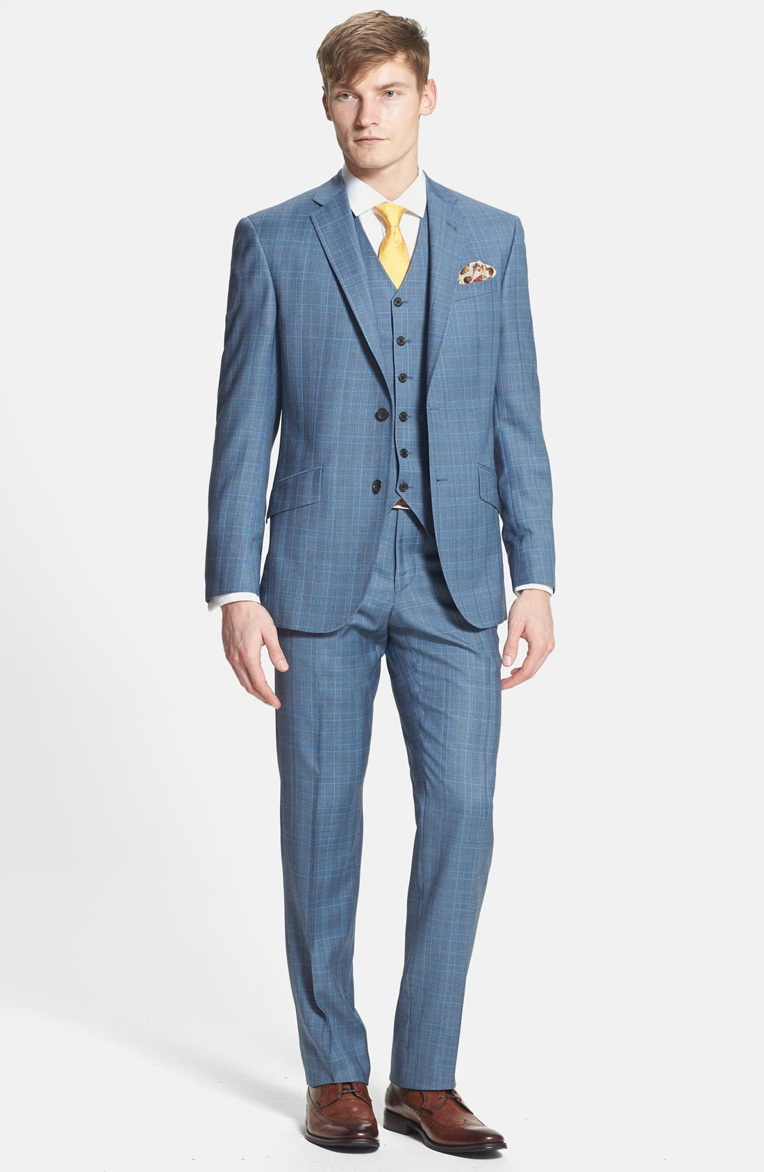 Main Image - Ted Baker London 'Jones' Trim Fit Three-Piece Wool Suit