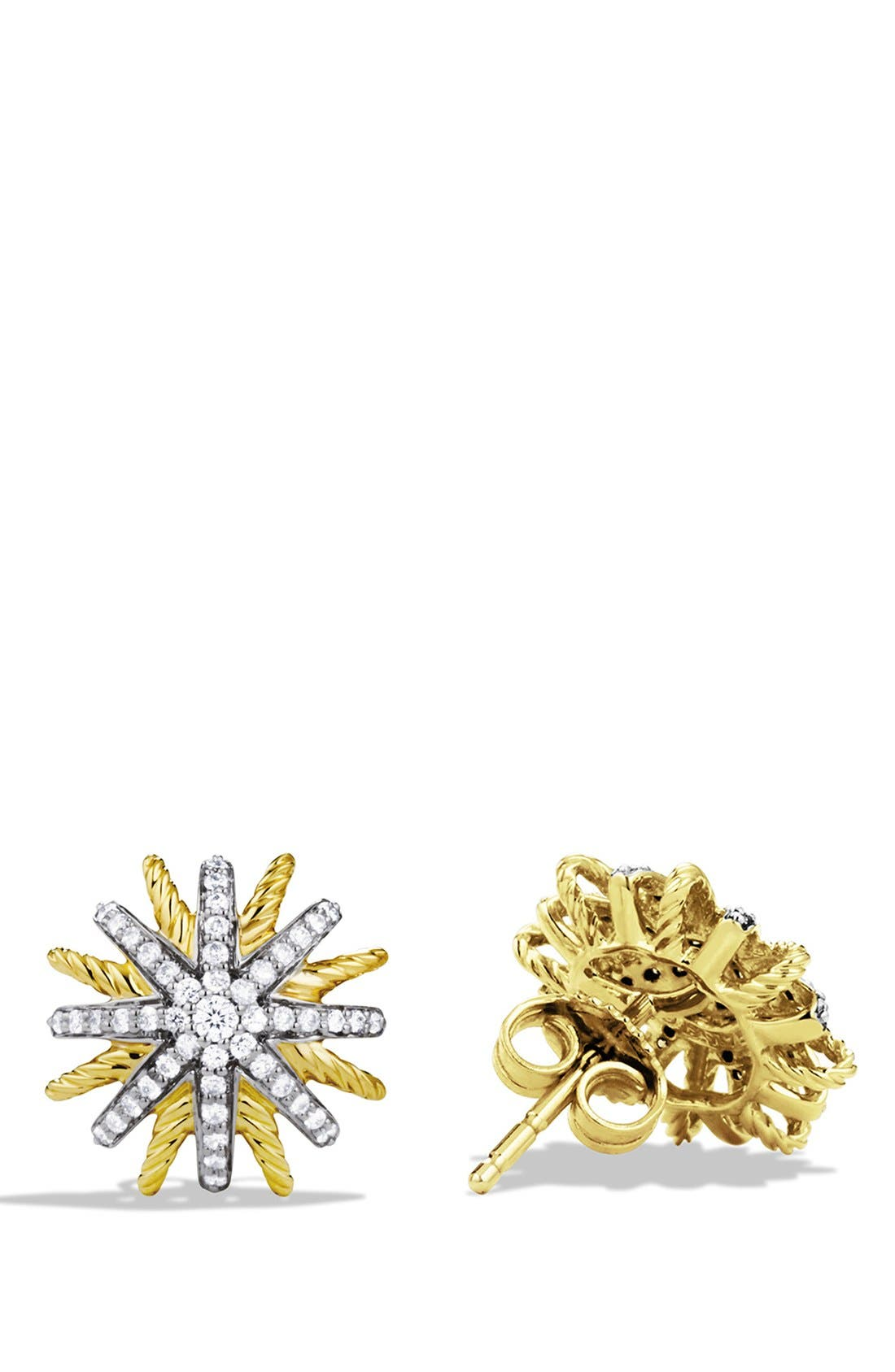'Starburst' Extra-Small Earrings with Diamonds in Gold,                             Alternate thumbnail 2, color,                             Diamond