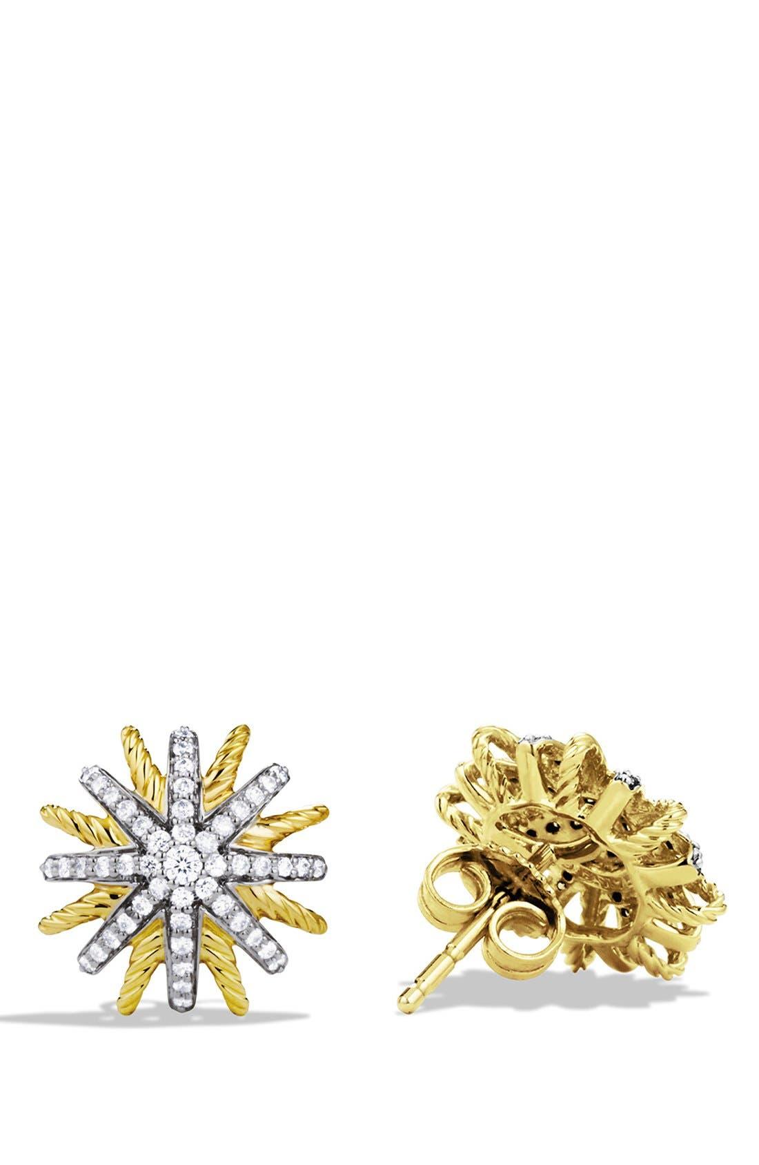 Alternate Image 2  - David Yurman 'Starburst' Extra-Small Earrings with Diamonds in Gold