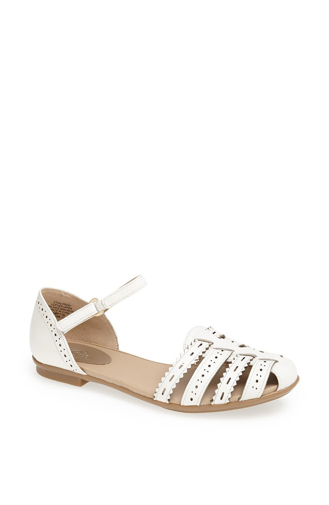 Alternate Image 1 Selected - Easy Spirit 'e360 - Galfriday' Pinked & Perforated Leather Quarter Strap Sandal (Women)
