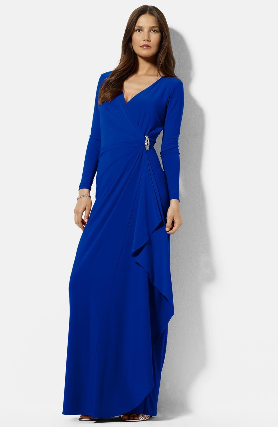 Main Image - Lauren Ralph Lauren Embellished Side Drape Jersey Gown